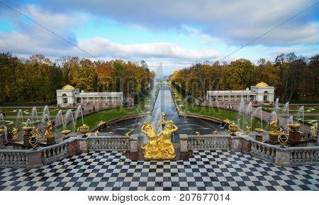 Peterhof Palace In Saint Petersburg, Russia