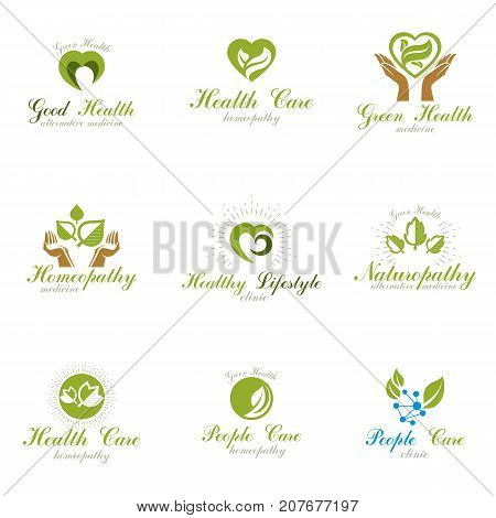 Homeopathy creative symbols collection. Naturopathy conceptual vector emblems created using green leaves heart shapes religious crosses and caring hands.