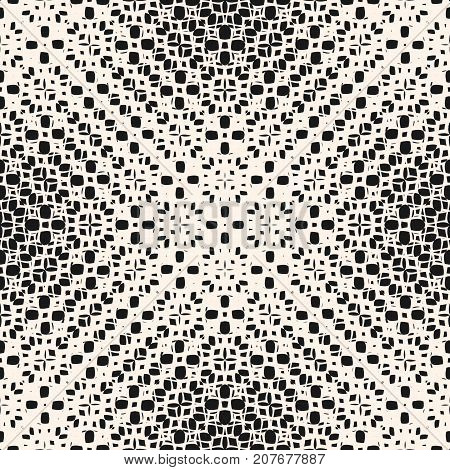 Vector halftone seamless pattern. Monochrome illustration of ripple surface. Abstract weaving texture, mesh, net, lace. Subtle repeat background. Design pattern. Halftone pattern. Ornamental pattern. Napkin pattern. Geometric pattern.