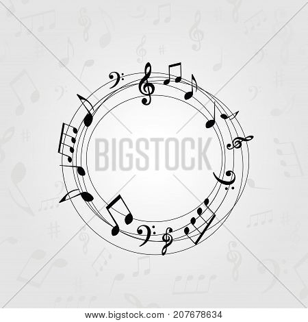 Black and white music banner with music notes. Music elements frame for card, poster, invitation. Music background design vector illustration