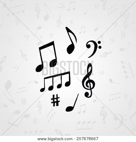 Black and white music notes. Music elements for card, poster, invitation. Music background design vector illustration