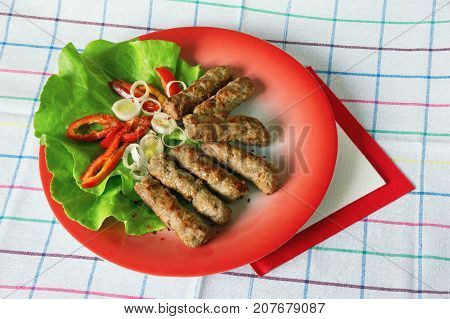 Cevapi - grilled dish of minced meat popular in the Balkans