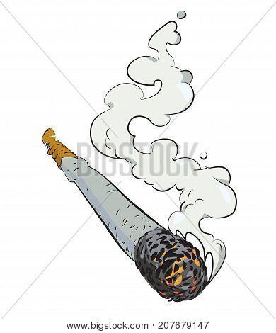 Marijuana joint cartoon hand drawn image. Original colorful artwork, comic childish style drawing.
