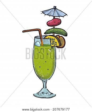 Weird cocktail cartoon hand drawn image. Original colorful artwork, comic childish style drawing.