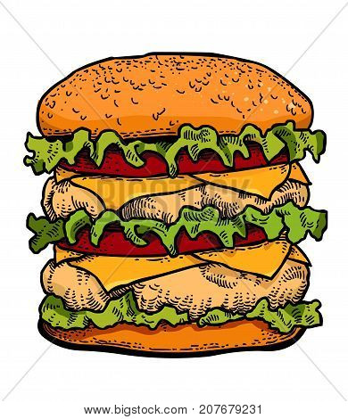 Burger cartoon hand drawn image. Original colorful artwork, comic childish style drawing.