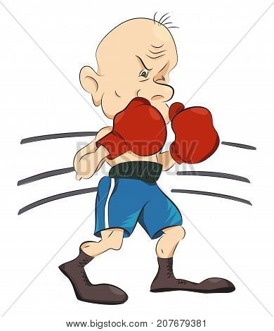 Boxer cartoon hand drawn image. Original colorful artwork, comic childish style drawing.
