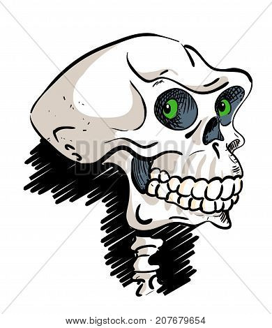 Ancient skull cartoon hand drawn image. Looking skull. Original colorful artwork, comic childish style drawing.
