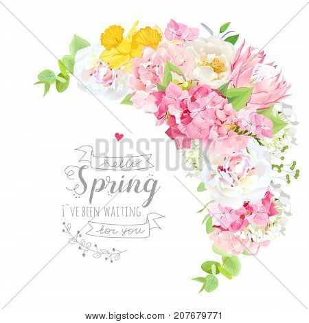 Blooming spring bouquet floral vector frame with peony, rose, protea, hydrangea, daffodil, green plants. Pink, yellow and white flowers. Crescent shape bouquet. All elements are isolated and editable