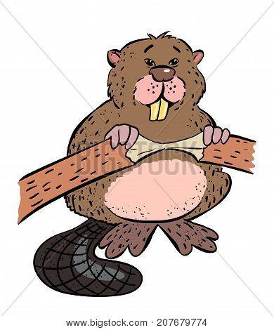 Beaver cartoon hand drawn image. Original colorful artwork, comic childish style drawing.