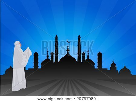 Traditionally clothed muslim woman making a supplication (salah) while standing on a praying rug against the backdrop of the mosque. illustration.