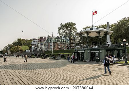 Quebec City Canada 13.09.2017 Tourists on Terrasse Dufferin in Old Town Located right above the St. Lawrence this historical area is UNESCO World Heritage Site