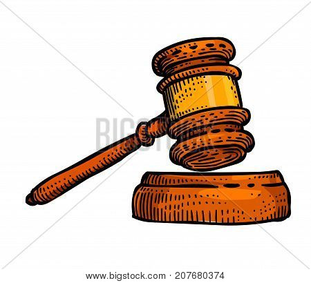 Judge gavel cartoon hand drawn image. Law symbol. Original colorful artwork, comic childish style drawing.