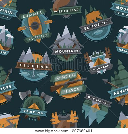 Camping outdoor tourist travel logo scout badges template emblems vector illustration set. Mountain, animals, river camp outdoor club emblem seamless pattern background