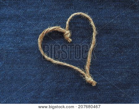 Sign one heart of twine in denim