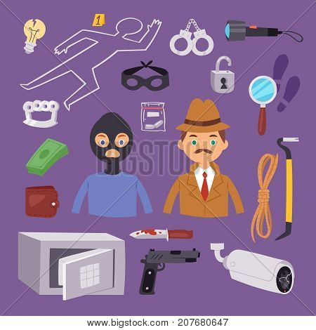 Criminal thief cartoon detective character design with equipment investigator police man design vector illustration. Private mystery inspector crime scene occupation.