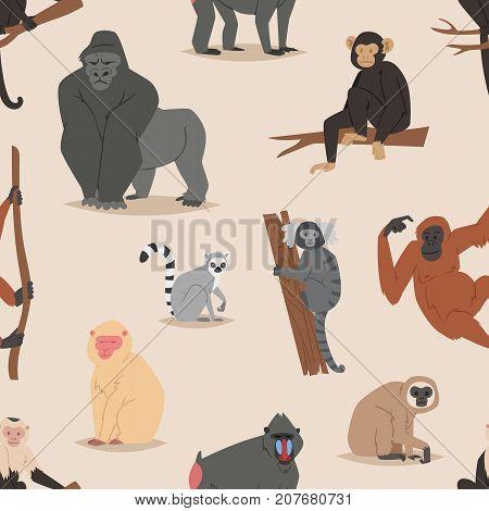 Cartoon monkey character animal wild vector illustration seamless pattern background Macaque primate cartoon wild zoo cheerful gorilla ape