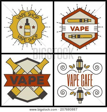 Set of vaping e-cigarette emblems, labels, prints and logos. Vector vintage electronic nicotine cigarette illustration. Vaporizer device shop design isolated.
