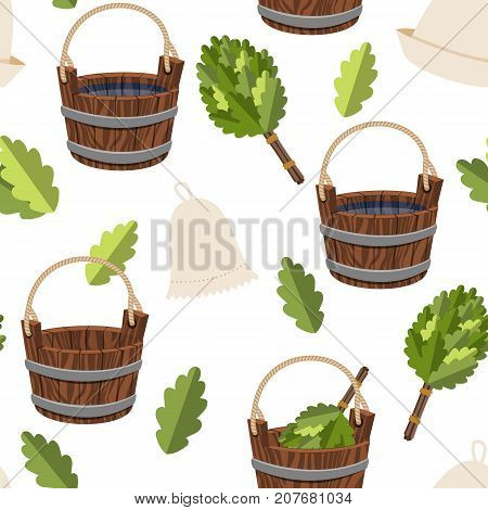 Seamless pattern public baths wood bucket spa sauna accessories background vector colorful illustration relaxation hygiene products. Decorative health care wallpaper.