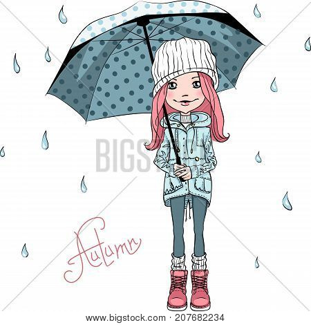 Vector beautiful fashion girl in autumn clothes, hat, boots and jacket with umbrella