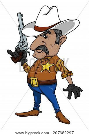 Cartoon image of sheriff. An artistic freehand picture.