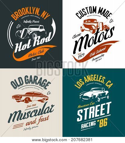 Vintage roadster, custom hot rod and muscle car vector tee-shirt logo isolated set. Premium quality old sport vehicle logotype t-shirt emblem illustration. Street wear superior retro tee print design.