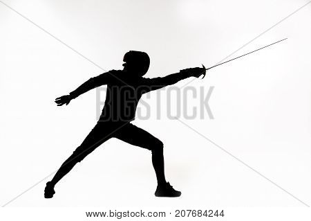 illustration of fencer silhouette with the sword.Studio silluette photoshoot