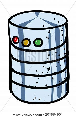 Cartoon image of Database Icon. An artistic picture.