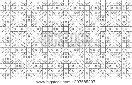 375 White Material Design Puzzles Pieces - Vector Illustration. Jigsaw Puzzle Blank Template or Cutting Guidelines. Vector Background.
