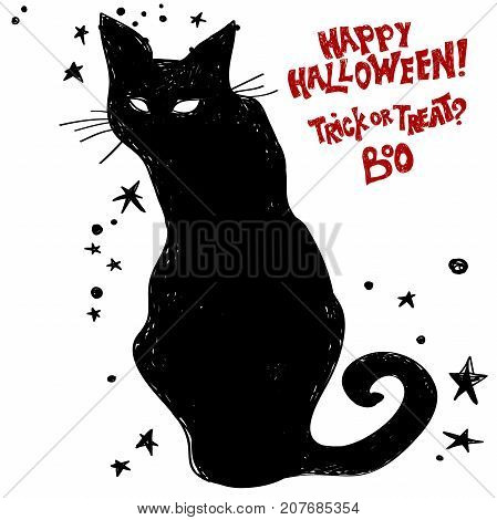 A black cat. Halloween is coming concept. Black cat wants a happy Halloween.Typography design- stock vector.