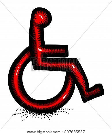 Cartoon image of Handicap Icon. Accessibility symbol. An artistic freehand picture.