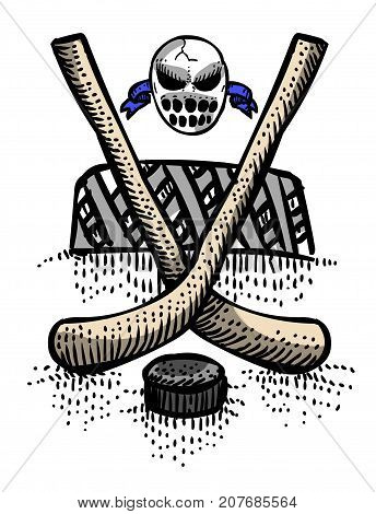 Cartoon image of Hockey Icon. Sport symbol. An artistic freehand picture.