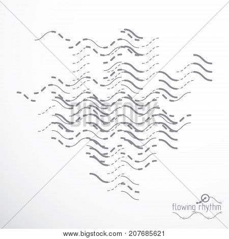 Flowing rhythm abstract wave lines vector background for use in graphic and web design.