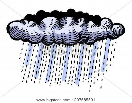 Cartoon image of Rain Icon. Cloud rain symbol. Modern forecast storm sign. Weather, internet concept. An artistic freehand picture.