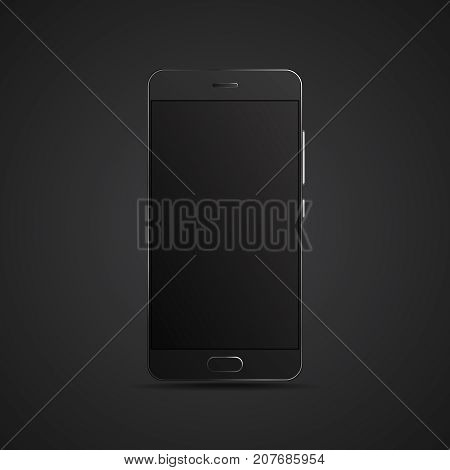 Black hyper realistic smartphone on dark background. Vector modern high detailed black smartphone. Professional realistic smartphone isolated on dark background.