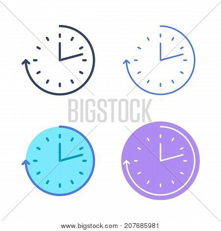 Time concept linear symbols. Clock and watch line symbols and pictograms. Time and interval dimension and measuring vector outline icon set. Thin contour infographic elements for web design, networks.