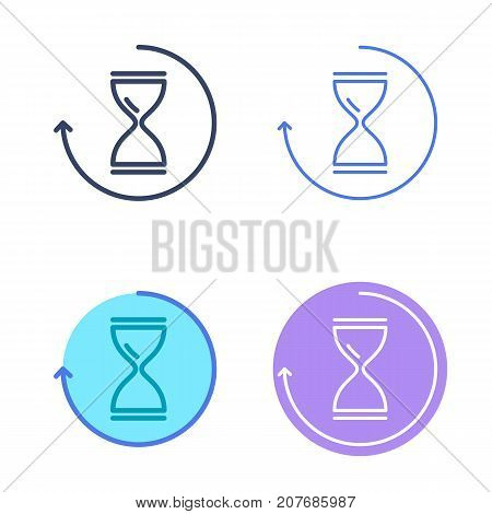 Time concept linear symbols. Hourglass line symbols and pictograms. Time and interval dimension and measuring vector outline icon set. Thin contour infographic elements for web design, networks.
