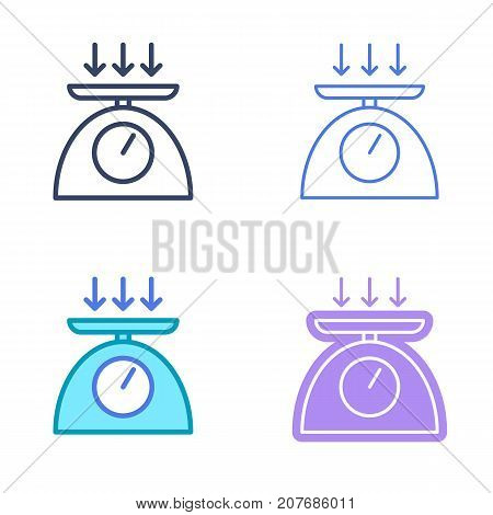 Weight concept linear symbols. Food scales line symbols and pictograms. Weight dimension and measuring vector outline icon set. Thin contour infographic elements for web design, presentation, network.