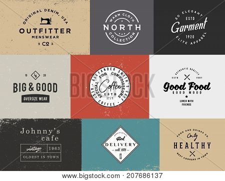 Different vintage logo templates with different colored backgrounds. Retro stock templates for branding projects.