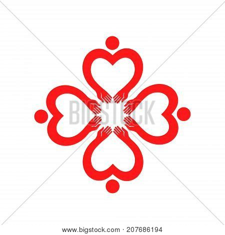 Vector icon for the day of hugs. Flower. Metaphor of love and harmony. Flower. Metaphor of love and harmony. Universal vector illustration isolated on white background.