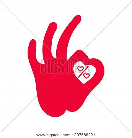 percent sign icon with hearts. human okay hand sign vector illustration