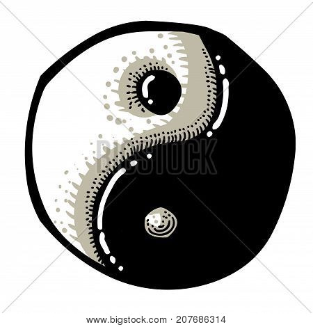 Cartoon image of Ying yang Icon. An artistic freehand picture.