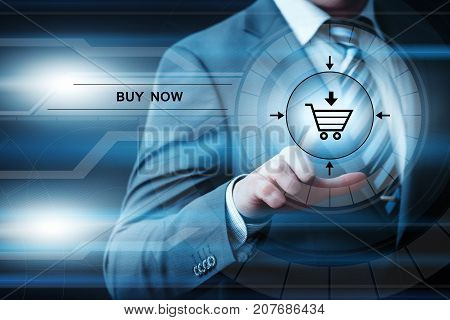 Buy now online shopping order internet business technology concept.