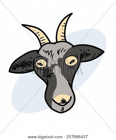 Crazy goat hand drawn cartoon image. Freehand artistic illustration.