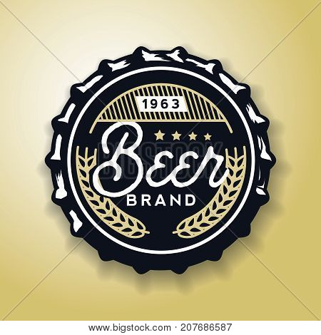 Beverage screw top designed in vintage style, vector illustration. Beer cap in retro style, stock vector