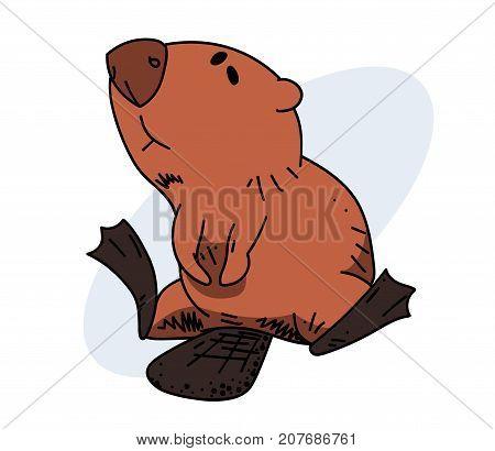 Lazy beaver, hand drawn cartoon image. Freehand artistic illustration.