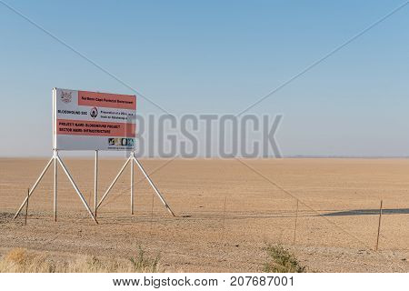 RIETFONTEIN SOUTH AFRICA - JULY 6 2017: A sign board at Hakskeenpan on the R31-road between Rietfontein and Askham at the location of the Bloodhound world speed record attempt