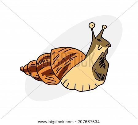 Gross slug cartoon hand drawn image. Original colorful artwork, comic childish style drawing.