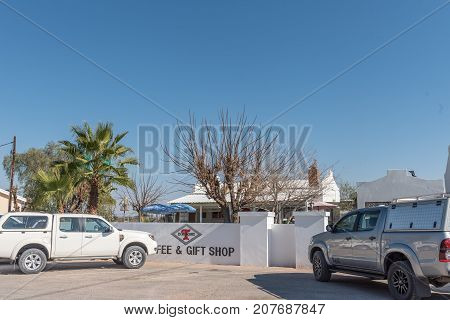 ASKHAM SOUTH AFRICA - JULY 6 2017: The Diamond T Coffee and Gift Shop in Askham a small town in the Northern Cape Province of South Africa