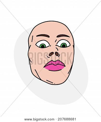 Mean female face cartoon hand drawn image. Original colorful artwork, comic childish style drawing.