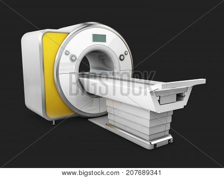 Magnetic Resonance Imaging Machine Isolated on Black Background. Medical MRI Scanner 3D Illustration. poster
